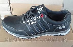 Кроссовки мужские из натуральной кожи черного цвета Adida$ Код 1541