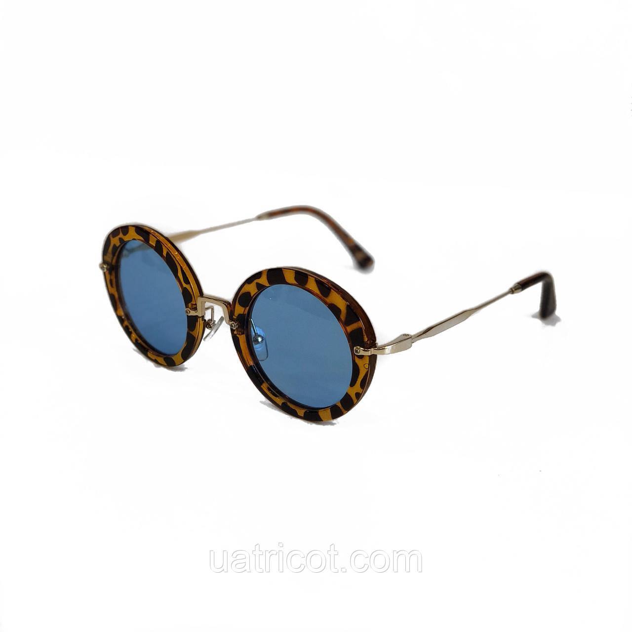 Женские солнцезащитные очки круглые с голубыми линзами