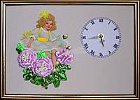 Картина вышита лентами на гобелене с часами ручная вышивка готовое изделие, фото 1