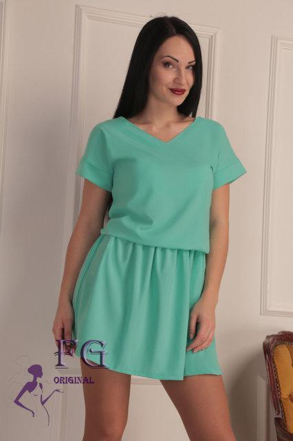"""Широкое летнее однотонное женское платье с вырезом на спине, рукав реглан """"Линда"""", мятное"""
