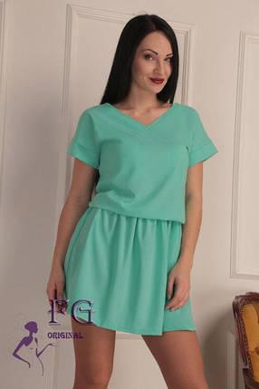 """Широкое летнее однотонное женское платье с вырезом на спине, рукав реглан """"Линда"""", мятное, фото 2"""