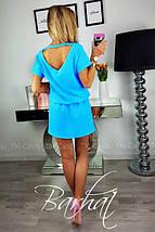 """Стильное летнее однотонное женское мини платье с вырезом на спине """"Линда"""", голубое, фото 2"""
