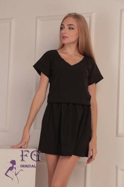 """Классическое летнее свободное женское платье с вырезом на спине """"Линда"""", черное"""