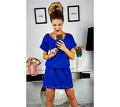 """Стильное летнее однотонное женское мини платье с вырезом на спине """"Линда"""", голубое, фото 3"""