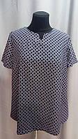 Блуза женская ANNA V-образный вырез с коротким рукавом. 52,54,56рр Софт. Батал. 025. Темносиний