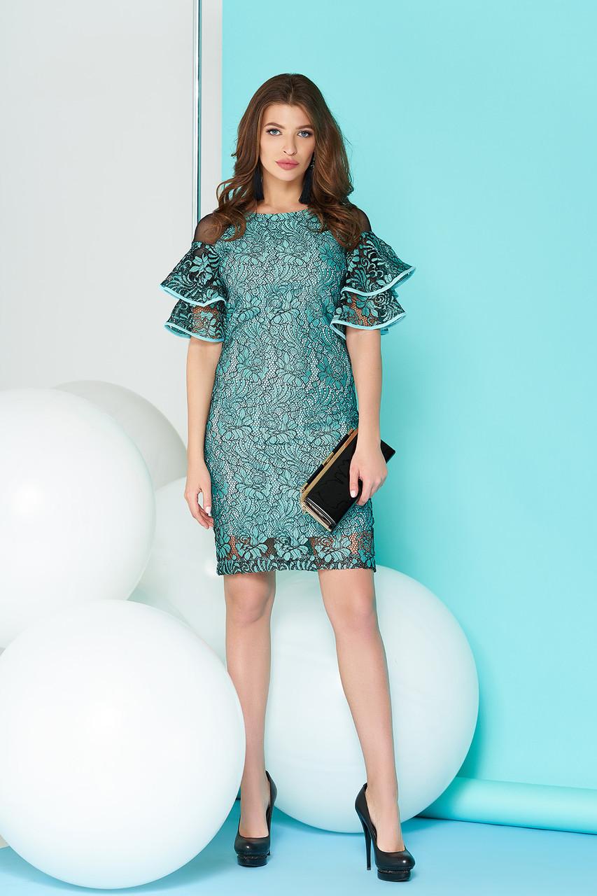 Праздничное платье миди приталенное с рюшами ментоловое