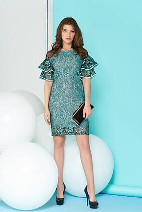 Праздничное платье миди приталенное с рюшами ментоловое, фото 2