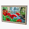 Картина вышита лентами на гобелене маки на пруду ручная вышивка готовое изделие