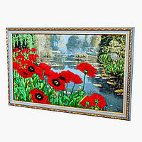 Картина вышита лентами на гобелене маки на пруду ручная вышивка готовое изделие, фото 1