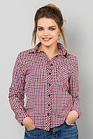 Модная женская короткая рубашка с длинным рукавом в мелкую клетку хлопок