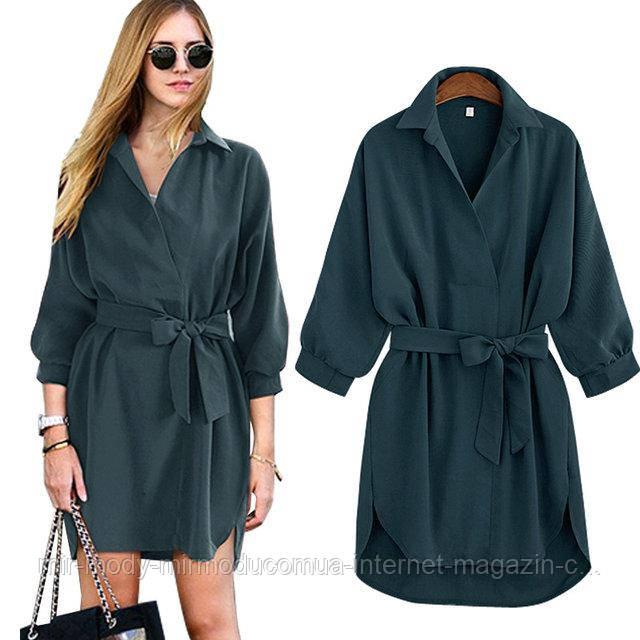 Женское платье-рубашка Autumn AL3051  зеленое с 46 по 50 размер