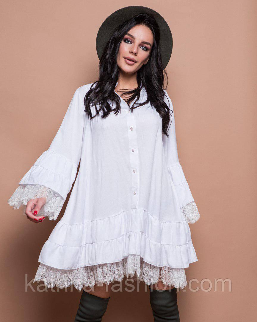 Женское свободное платье с кружевом (2 цвета)