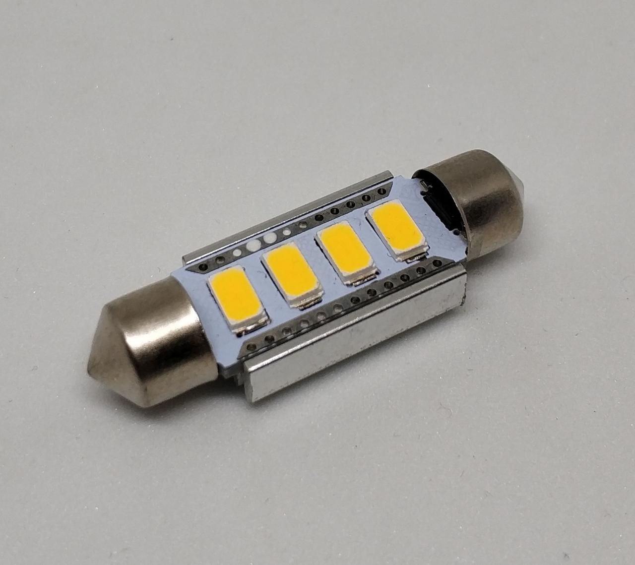 Автолампа LED, C5W, SMD5630, 39 мм, 12B, CANBUS, Теплый белый