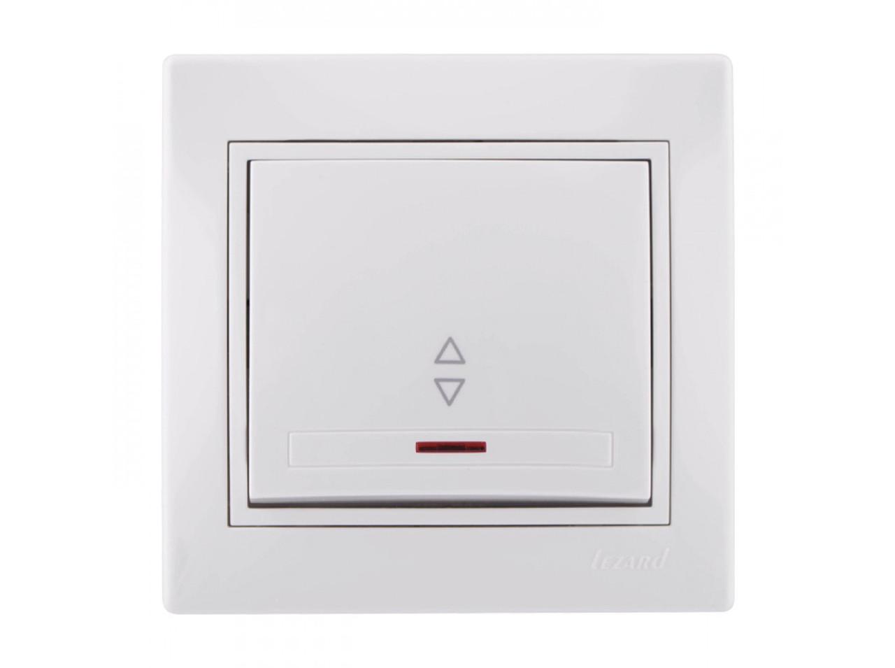 Выключатель проходной с подсветкой белый с белой вставкой MIRA 701-0202-114 Lezard