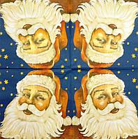 "Салфетка декупажная 33x33см 25 ""Дед мороз на фоне звезд"""