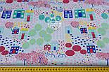 """Ткань польская """"Цветочный городок"""" в зелёно-бирюзовых цветах, № 1300а, фото 2"""