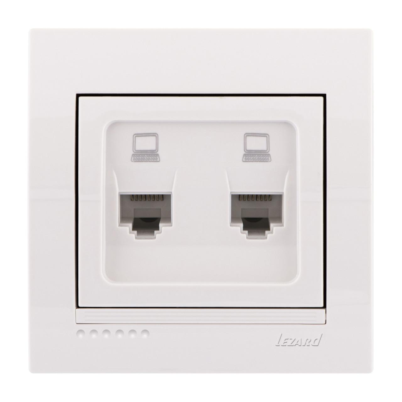 Розетка компьютерная двойная белая DERIY 702-0202-141 Lezard