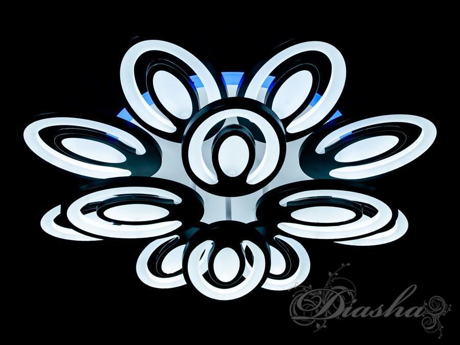 Сверхъяркая светодиодная люстра с цветной подсветкой MX2221/8+4BK LED