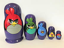 "Матрешка ""Angry birds"" 5 кукольная, Высота 18 см"