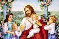 """Набор для рисования камнями """"Иисус с детьми"""""""