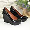 Лаковые женские туфли на устойчивой высокой платформе, фото 4