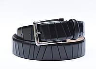 Мужской кожаный ремень (для брюк, натуральная кожа с насечками, цвет черный)