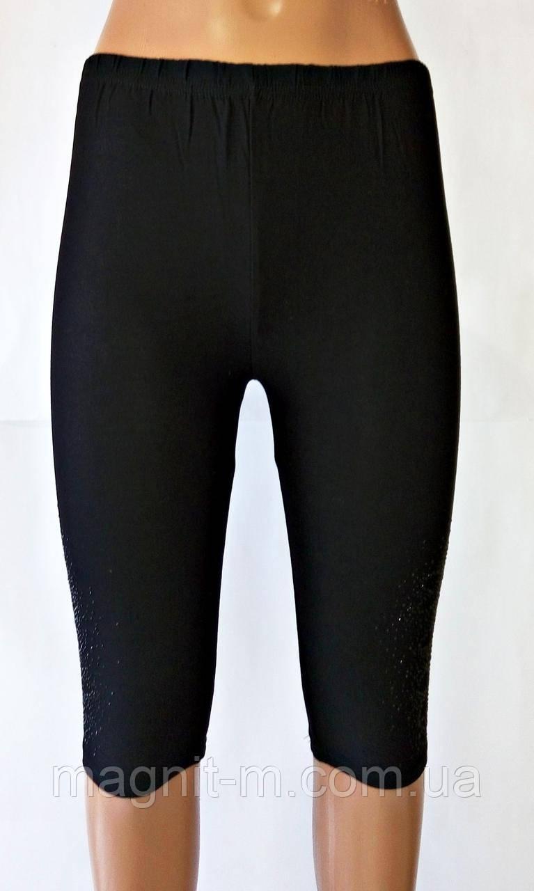 Бриджи женские вискоза черные с черными стразами. Норма (48-56 рр)