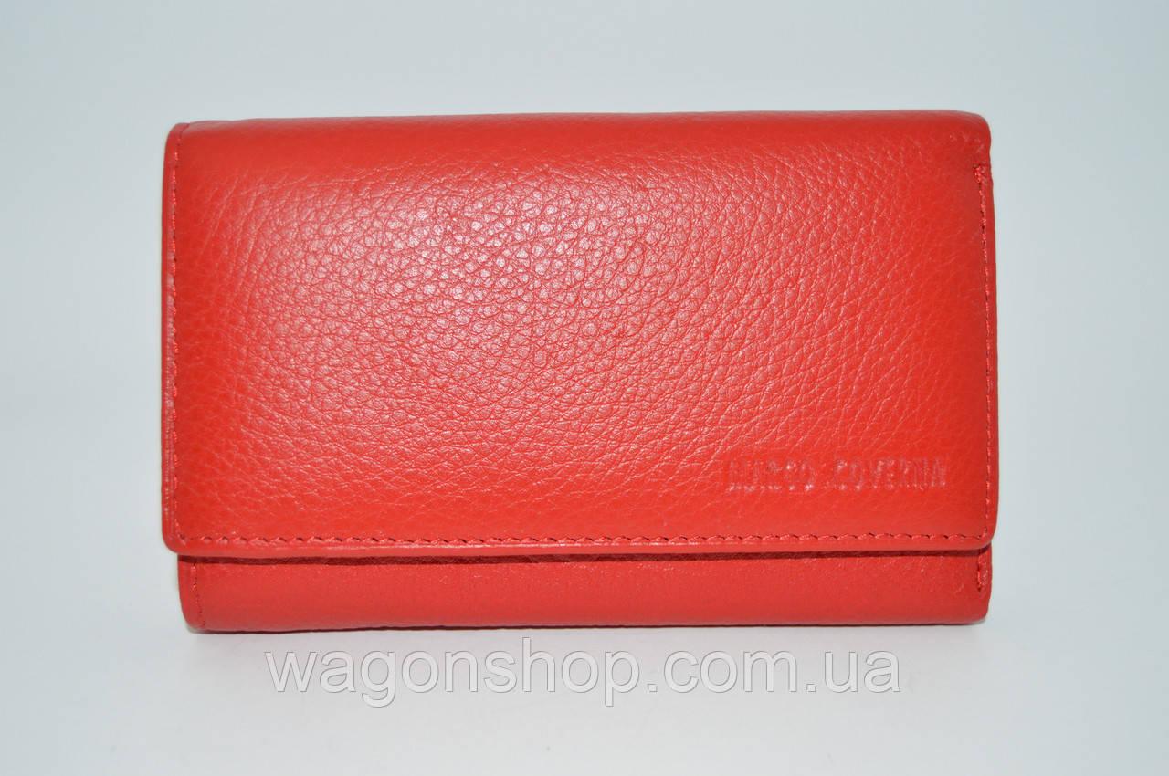 Красный небольшой кожаный кошелек с фиксацией на магнитах - Marco Coverna