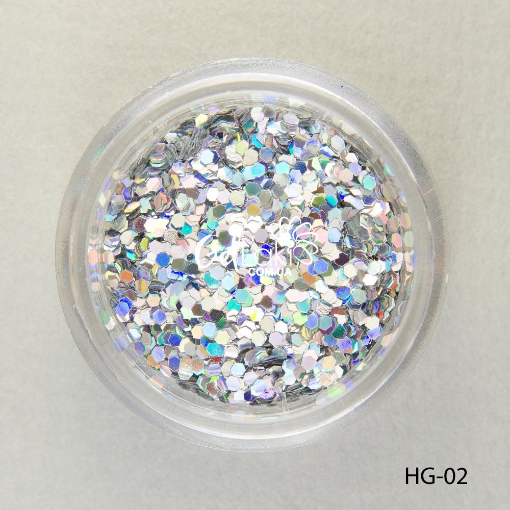 Шестигранники голографические для дизайна ногтей (серебро), HG-02