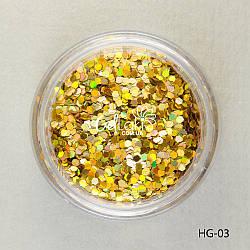 Шестигранники голографические для дизайна ногтей (золото), HG-03