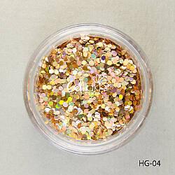 Шестигранники голографические для дизайна ногтей (коричнево-золотой), HG-04