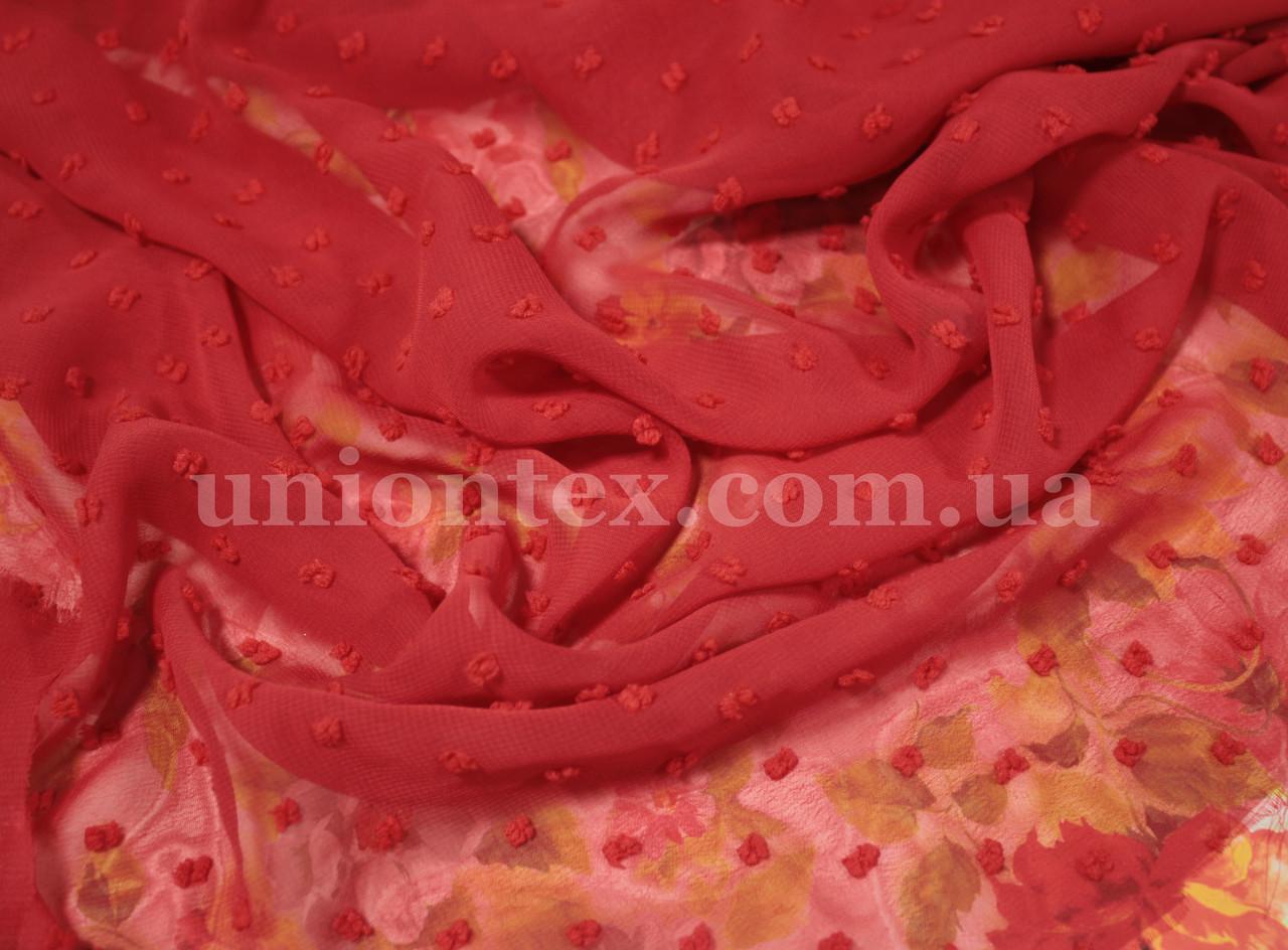 Ткань шифон жаккард красный (от 10 метров)