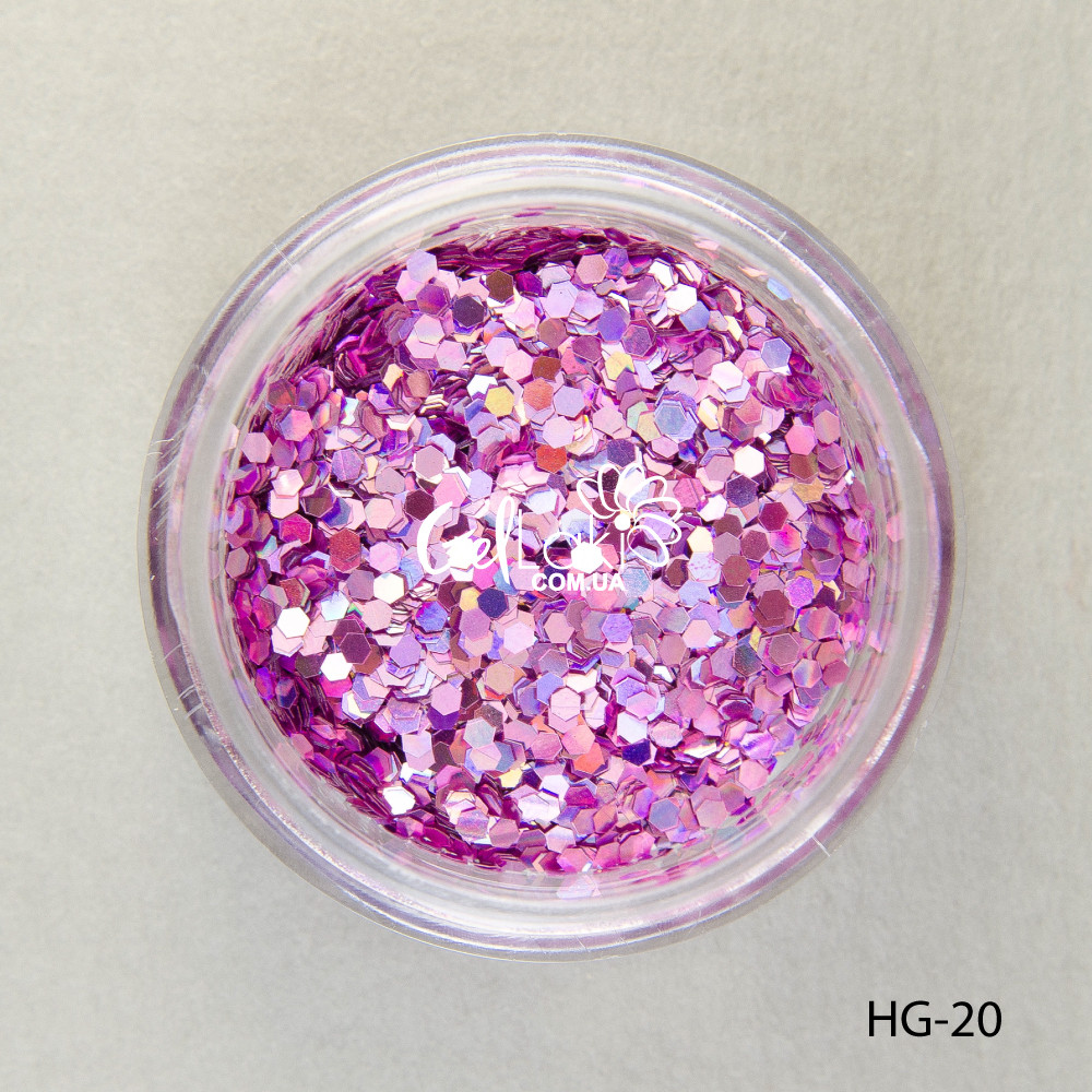 Шестигранники голографические для дизайна ногтей (розовый), HG-20