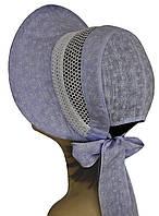 Шляпа женская Лиза кружева ромашка на голубом
