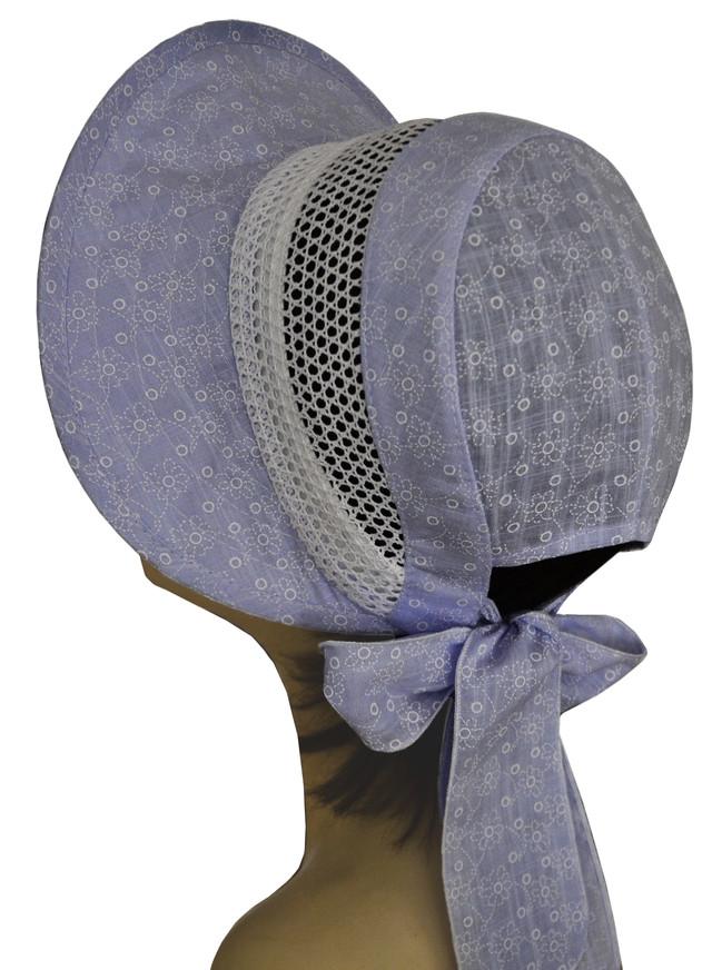 Шляпка Лиза кружева ромашка на голубом