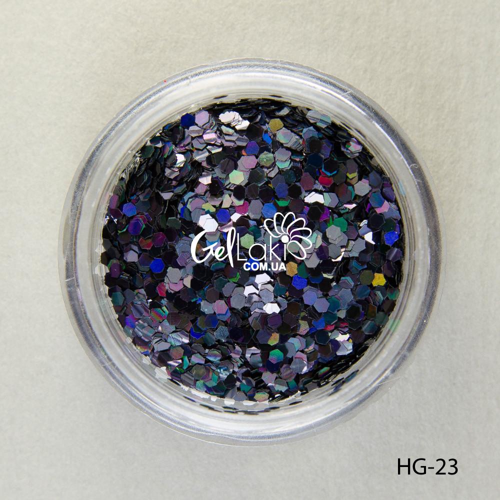 Шестигранники голографические для дизайна ногтей (черный), HG-23