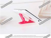 Универсальная мини складная пластиковая подставка для мобильного телефона розового цвета
