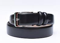 Мужской классический брючный ремень (натуральная гладкая кожа, черный цвет)