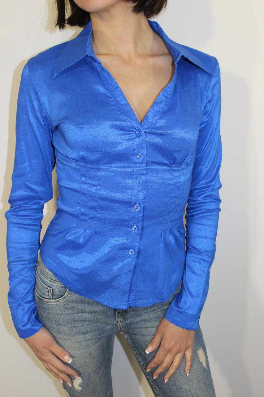 Рубашка женская 2025-2 синяя S