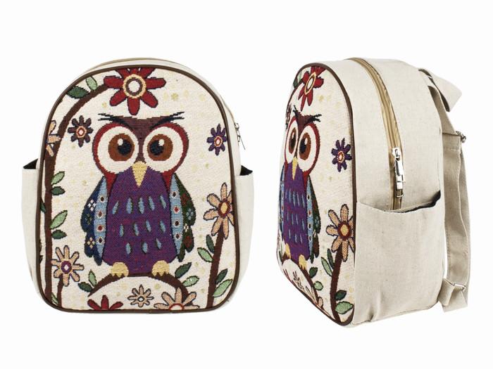 Рюкзак холщовый женский Совушка в цветах