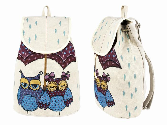 Рюкзак городской из ткани Совушки и дождик