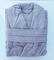 Мужской махровый турецкий халат серый