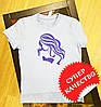 """Женская футболка с вышивкой """"Силуэт""""серая"""