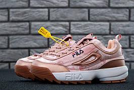 Жіночі кросівки в стилі Fila Disruptor 2 Pink Velours Бежеві