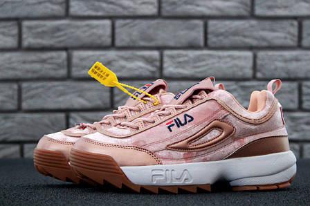 3b2efad5 Женские кроссовки в стиле Fila Disruptor 2 Pink Velours Бежевые, фото 2