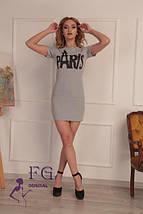 """Приталенное летнее женское платье туника с принтом """"France"""", розовое, фото 2"""