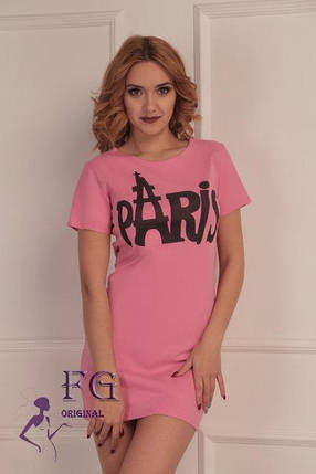 Приталенное летнее платье туника с принтом розовое, фото 2