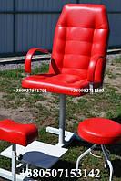 Кресло педикюрное с подставкой для ног и стулом для мастера, красный педикюрный комплект (глянцевый)