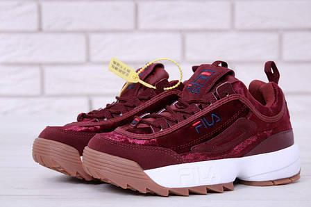 Женские кроссовки в стиле Fila Disruptor 2 Burgundy Velours Бордовые, фото 2