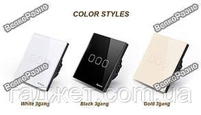 Сенсорный выключатель Sesoo. Трехлинейный сенсорный выключатель Sesoo золотого цвета., фото 2